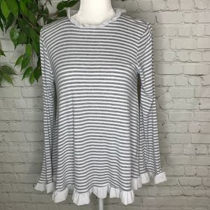 Altar'd State Striped Ribbed Bell Sleeve Blouse Sm